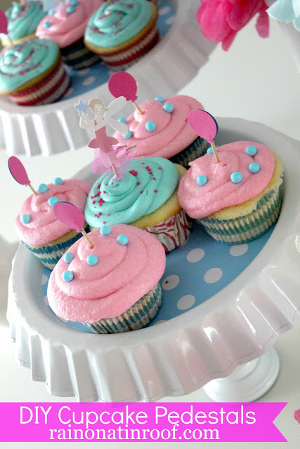 diy cupcake stand - blue and pink cupcakes on white cupcake stand