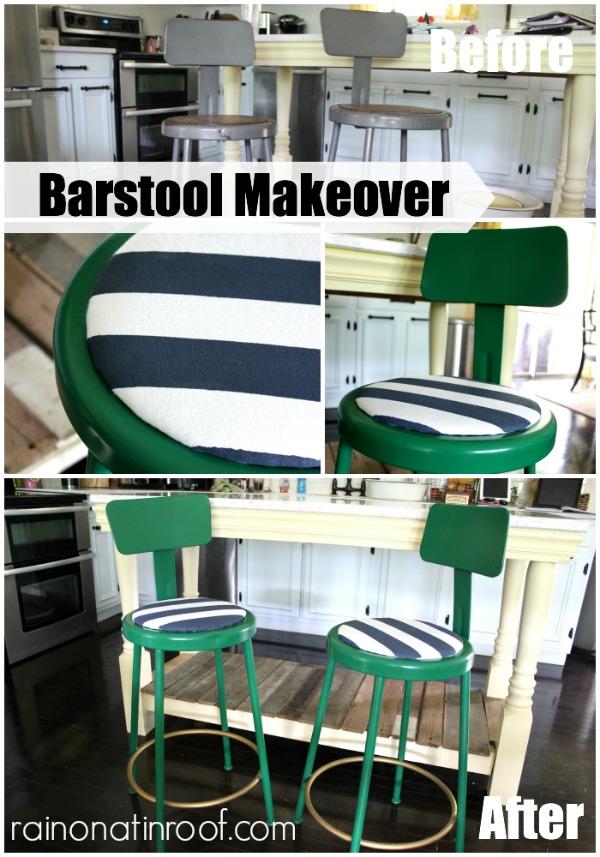 Barstool Makeover {rainonatinroof.com} #barstool #makeover