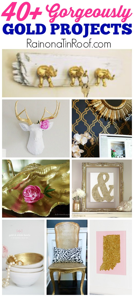 40+ gold home decor DIY Projects and Crafts | Easy Home Projects | Easy Crafts | Home Decor Ideas
