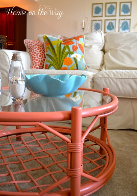 Coral Home Decorating {rainonatinroof.com} #coral #homedecor #diy