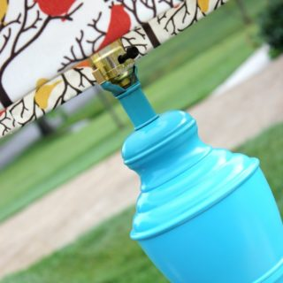 Aqua Lamp Makeover {rainonatinroof.com} #aqua #spraypaint