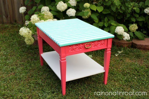 Wrapping Paper Topped Table {rainonatinroof.com} #wrappingpaper #modpodge #makeover