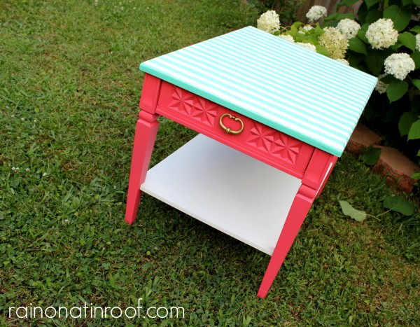 Great idea for fixing a too-far-gone tabletop! Wrapping Paper Topped Table Makeover via RainonaTinRoof.com