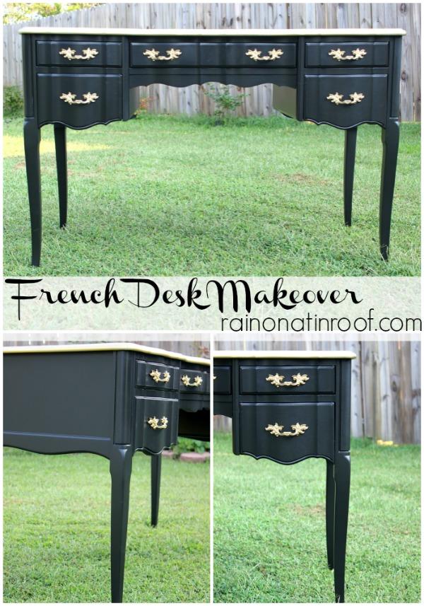 Black and Gold French Desk Makeover {rainonatinroof.com} #makeover #homeright #french