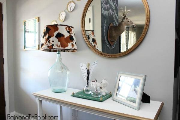 DIY Cowhide Lampshade via RainonaTinRoof.com #OnlineFabricStore #cowhide #knockoff #diy