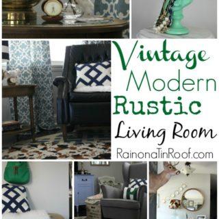 Vintage Modern Rustic Living Room via RainonaTinRoof.com #vintage #modern #rustic #decor