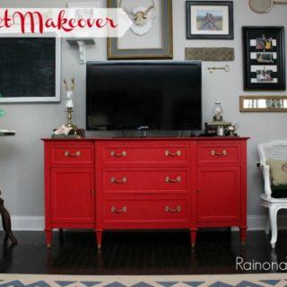 Buffet Makeover via RainonaTinRoof.com #buffet #makeover #red #countrychicpaint