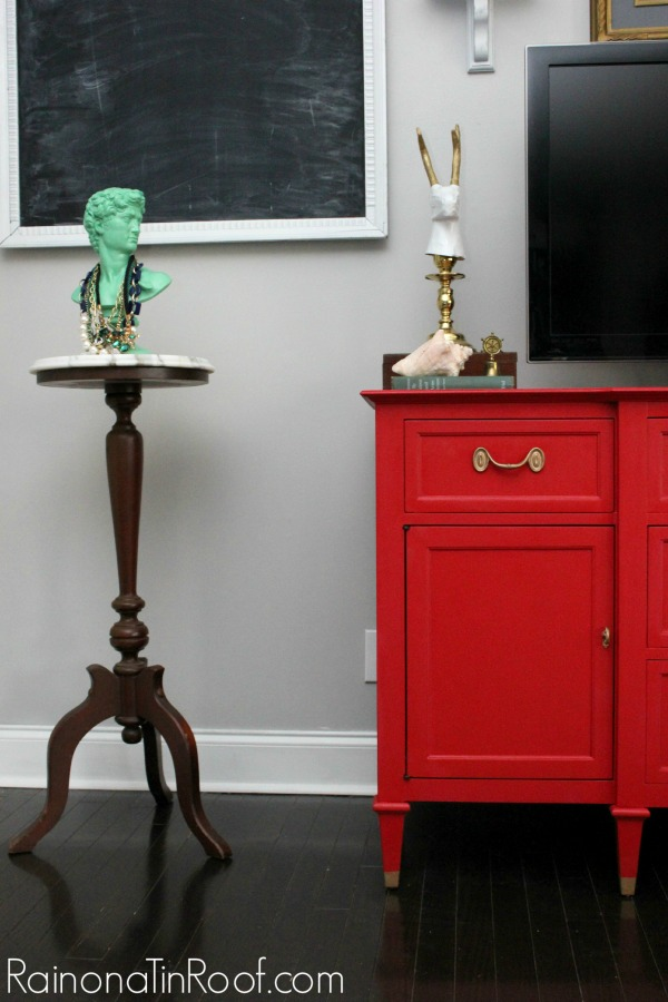 Country Chic Paint Buffet Makeover via RainonaTinRoof.com #buffet #makeover #red #countrychicpaint