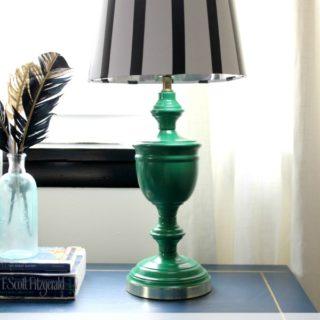 Electrical Tape Lampshade via RainonaTinRoof.com #electricaltape #lampshade #fifteenonFriday