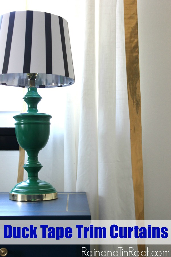 Duck Tape Trim Curtains via RainonaTinRoof.com #ducktape #ikeacurtain #hack
