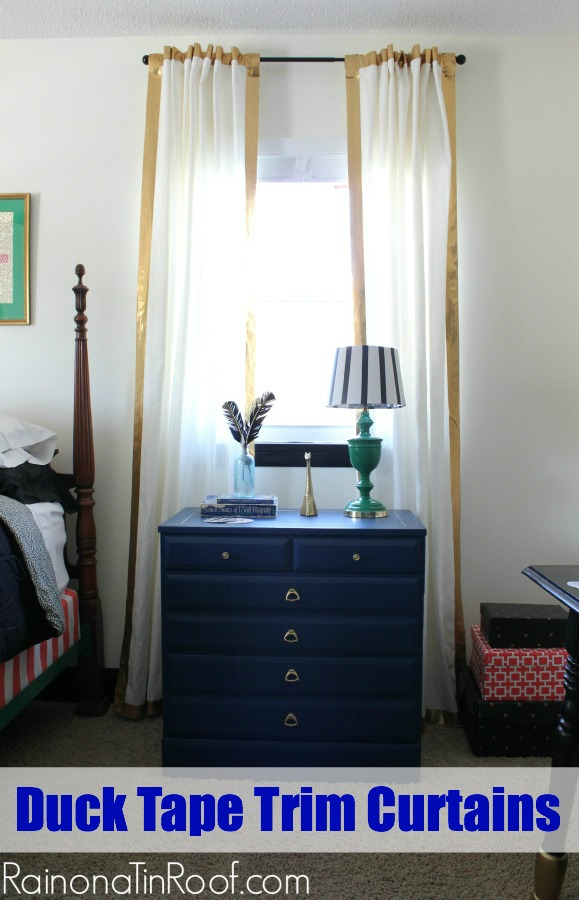 Duck Tape Trim Curtains via RainonaTinRoof.com #ducktape #ikeacurtain #hack