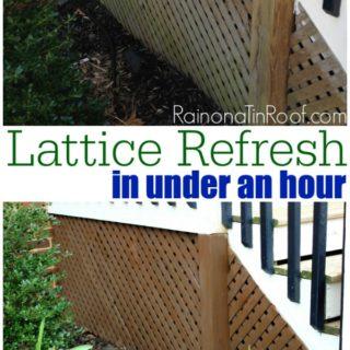 How to Stain Wood the Easy Way {Lattice Refresh} via RainonaTinRoof.com #stain #wood #lattice #Thompsons
