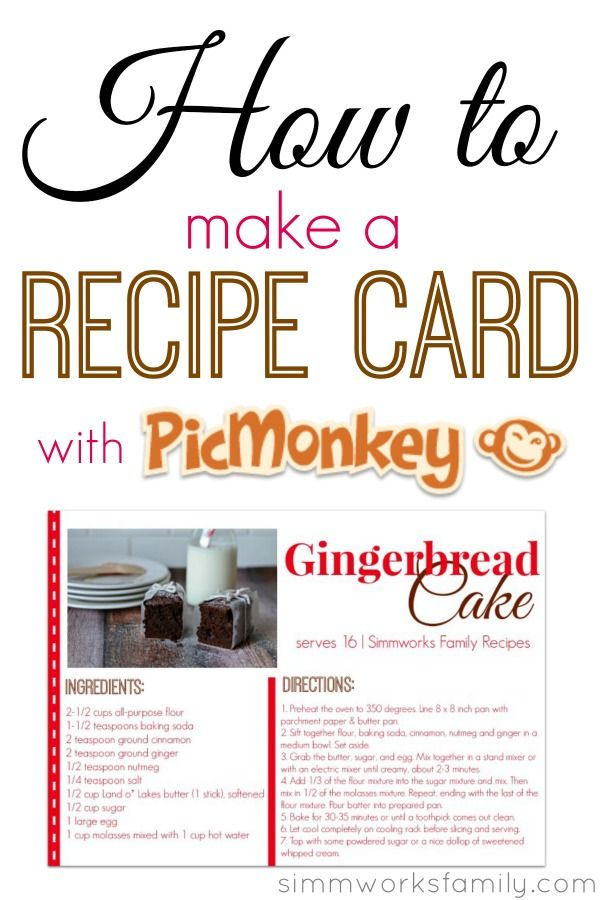 Picmonkey tutorial for a recipe card