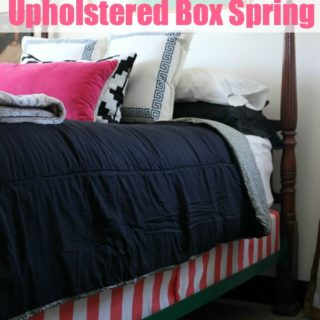 No-Sew Upholstered Box Spring via RainonaTinRoof.com #boxspring #nosew #upholstered