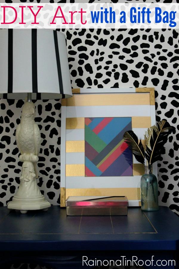 DIY Wall Decor with a Gift Bag via RainonaTinRoof.com #diy #walldecor #wallart #art #modernart
