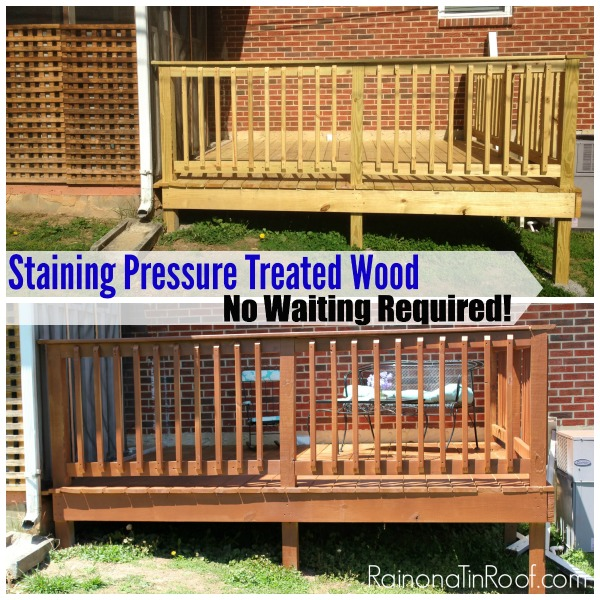 Staining Pressure Treated Wood - Before and After New Deck Staining - Rain on a Tin Roof