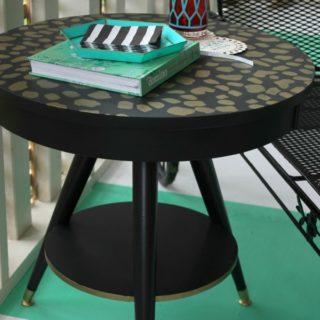 Leopard Print Table via RainonaTinRoof.com #leopard #stencil #makeover #painting #diy #furnituremakeover