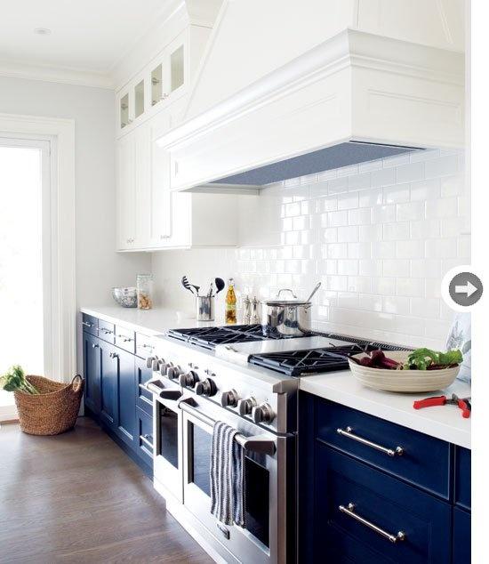 Dark Blue and White Kitchen