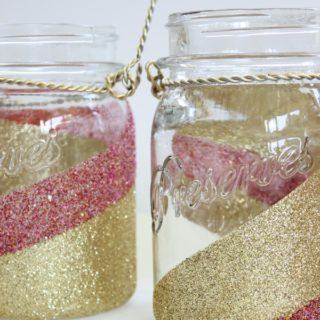 Glitter Mason Jars - Pink and Gold Glittered Jars - Rain on a Tin Roof
