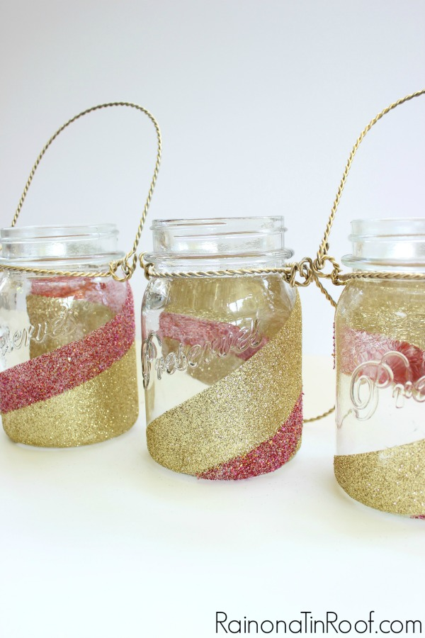 Mason Jar Crafts - Glittered Mason Jars - Rain on a Tin Roof