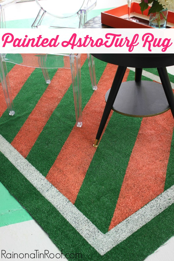 DIY Painted AstroTurf Rug Tutorial via RainonaTinRoof.com #diy #rug #homedecor #outdoordecor