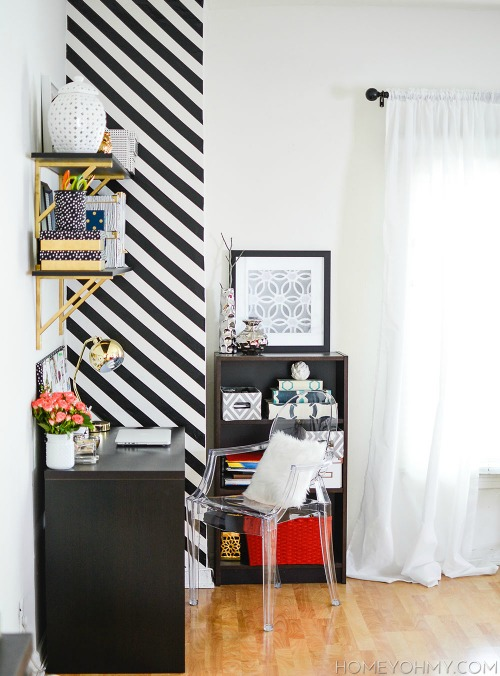 black and white accent wall using tape