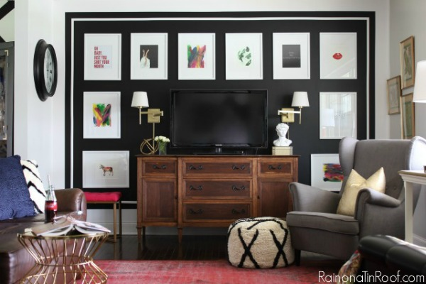Accent Wall Ideas for Living Room - black and white gallery wall that hides the tv