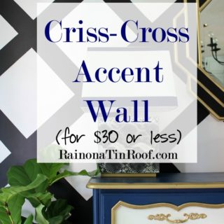 Criss-Cross Accent Wall for $30 or Less via RainonaTinRoof.com #diy