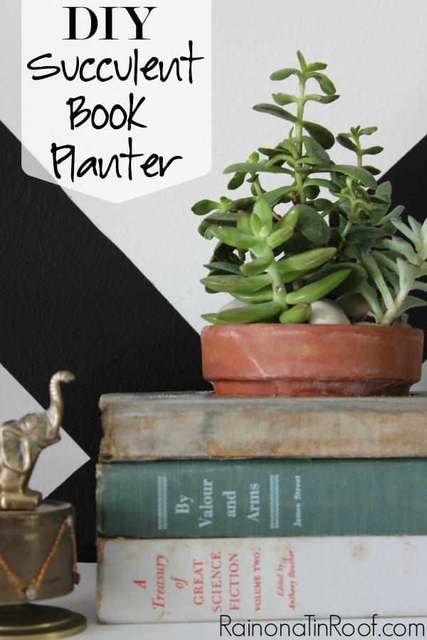 DIY Succulent Book Planter via RainonaTinRoof.com #succulent #ad