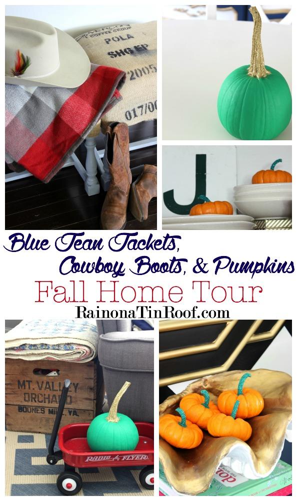 Blue jean jackets, cowboy boots, and pumpkins: Fall Home Tour via RainonaTinRoof.com #falldecor
