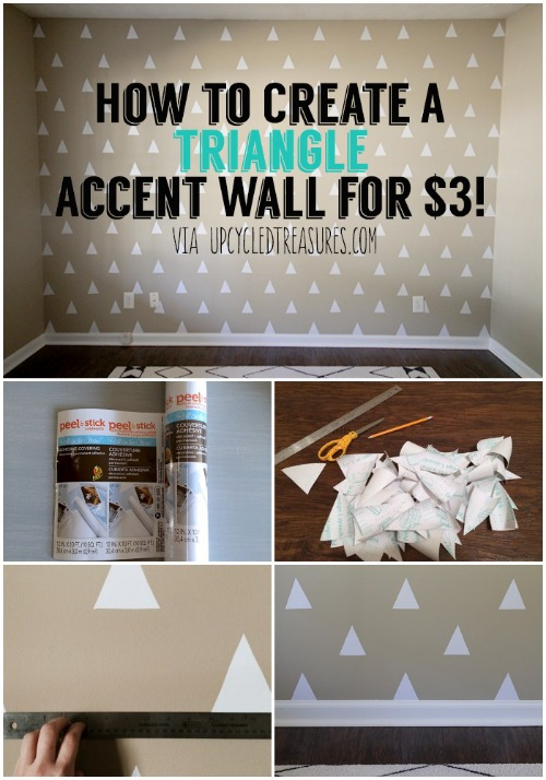 peel and stick triangles no paint accent wall