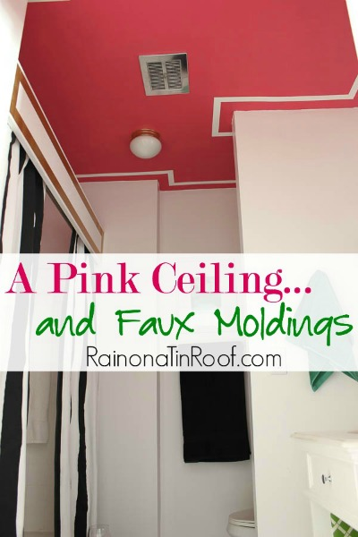 accent wall on the ceiling - pink and white ceiling