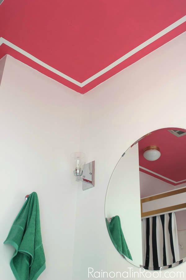 A Pink Ceiling with Faux Moldings via RainonaTinRoof.com #diy #ad