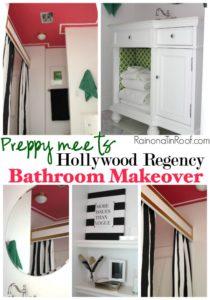 Preppy meets Hollywood Regency Bathroom Makeover via RainonaTinRoof.com #bathroom