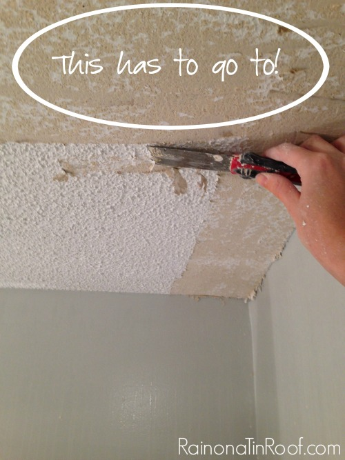 DIY Popcorn Ceiling Removal - what I learned - Rain on a Tin Roof