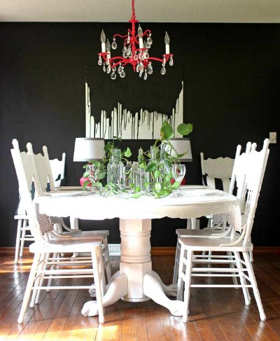 14 Black and White DIY Projects - Black and White Dining Room with a pop of Pink