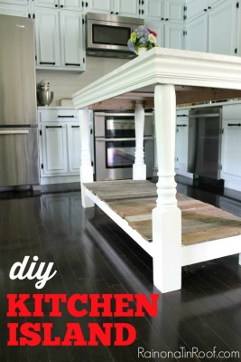 kitchen island ideas on a budget - island made from reclaimed wood