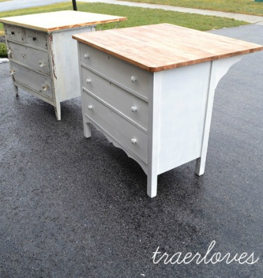 diy kitchen islands on a budget - islands made from dressers with area for barstools.