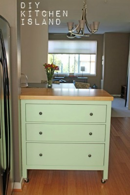 DIY Kitchen Peninsula made from a Dresser
