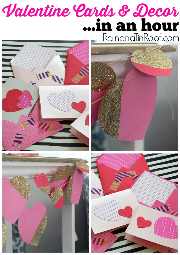 Short on time? Make your own valentine day cards (perfect for kids!) and a cute Valentine's Day garland in an hour with little effort!