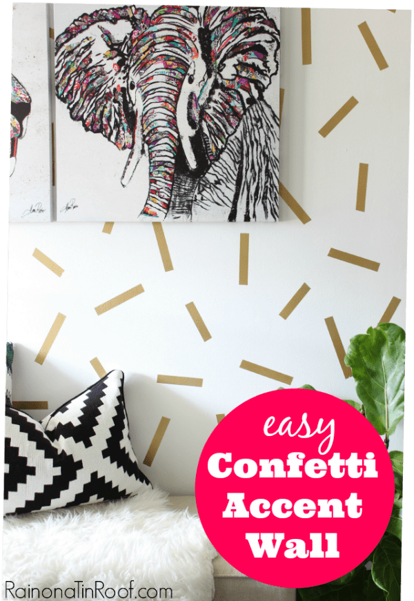 diy accent wall ideas - white wall with gold confetti on the wall.