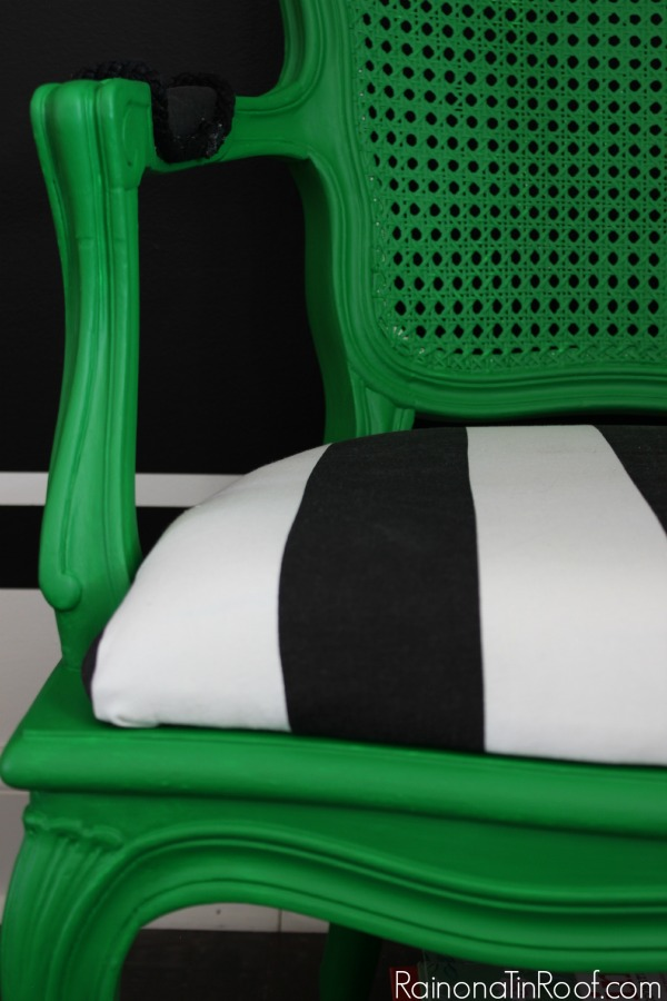 Green + Black + White = Perfection. Painted with Velvet Finishes Enchanting. French Country Chair Modern Makeover