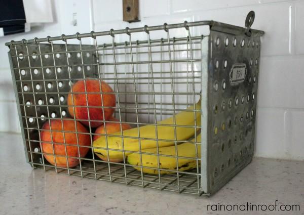 Use a locker basket to hold fruit. 10+ Kitchen Ideas: Decorating, Organizing, Storage