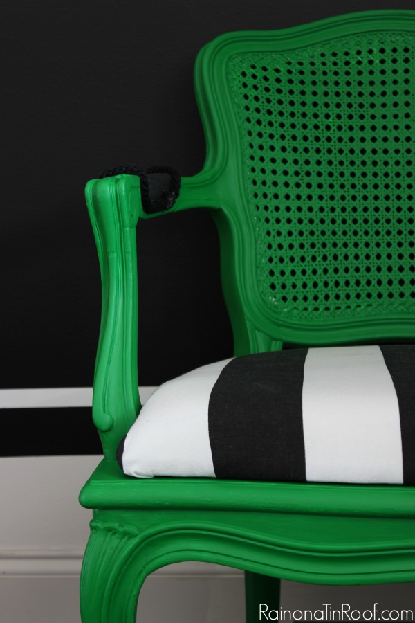 Love this green, black and white combo. French Country Chair Modern Makeover