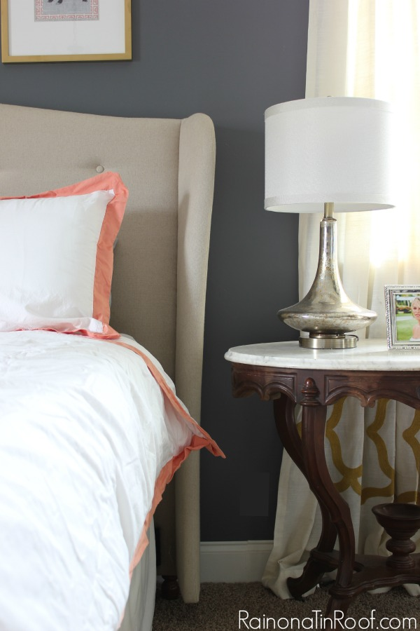 Pop of Color with the bedding. Spring Home Tour