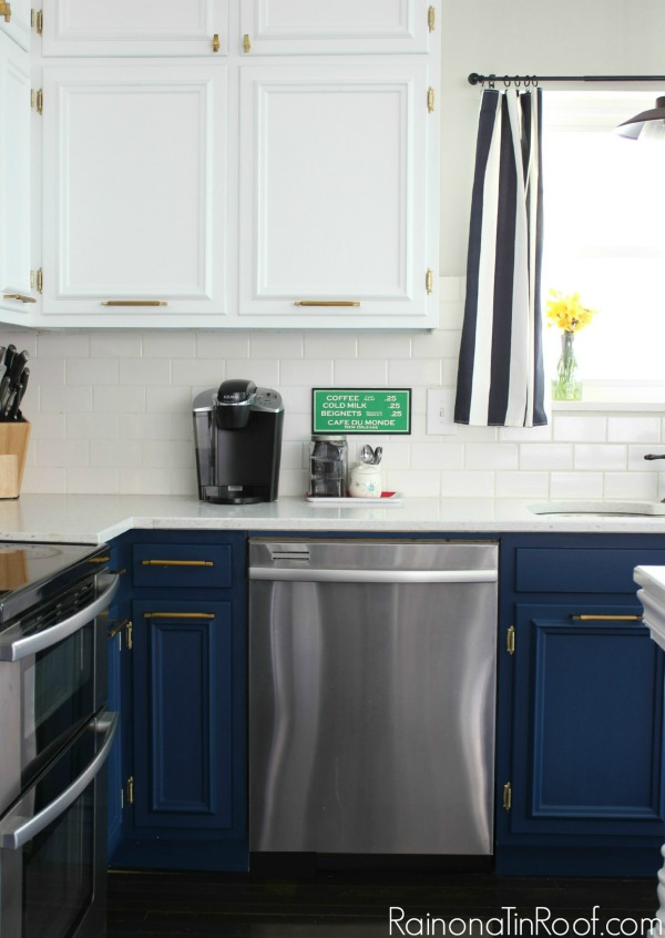 Navy, White, and Brass Kitchen: Spring Home Tour