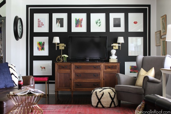 Black and White Framed Accent Wall: Spring Home Tour