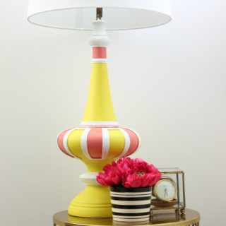 Wow! That color combination is so pretty! Mid-Century Modern Lamp Makeover with Velvet Finishes Paint