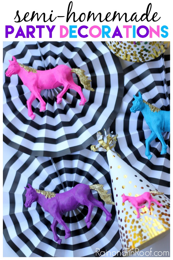 "Oh. My. Goodness. Stop it! These horse birthday party decorations are just too much! Love this idea for ""semi-homemade"" DIY Party Decorations!"