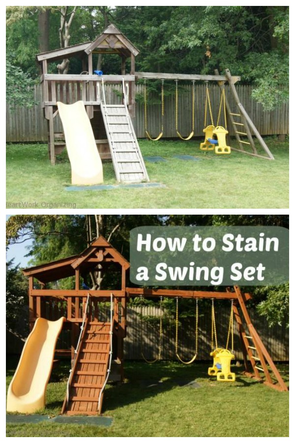 Staining a Swingset